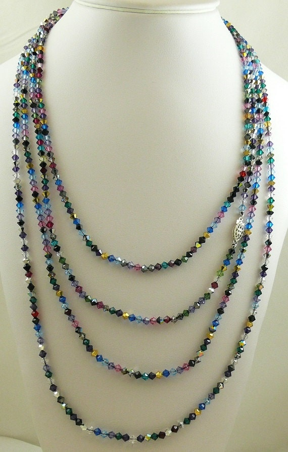 Multicolor Czech &  Austrian Crystal Necklace Sterling Silver Clasp 100 Inches Long