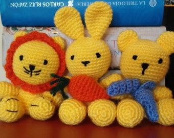 Kit Amigurumi 3 in 1: lion, bear and rabbit-