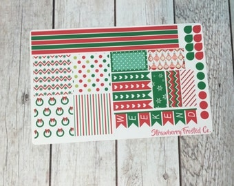 Christmas Wreath- Red and Green Themed Planner Stickers- Made to fit Horizontal Layout