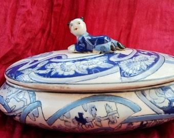 Vintage Chinese Porcelain Box Decoration