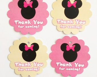 12 Minnie Mouse Thank you Birthday party favor tags