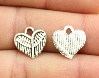 20 Heart Wing Charms, Antique Silver Tone (1J-140)