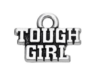4 Tough Girl Charms, Antique Silver Plated (1K-142)