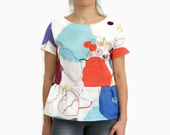 Blouse woman, fleurie, double gauze cotton.