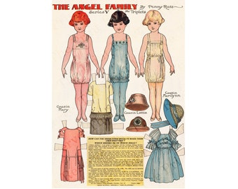 Printable  Paper Dolls Angel Family The Triplets Penny Ross Instant Digital Download 1920s Newspaper Reproduction