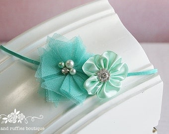 Teal Baby Birthday Headband, Baby Girl Headband, Newborn Headband, Flower Headband, Baby Photo Prop, Infant Headband, Toddler Headband