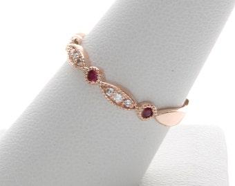 Ruby Wedding Band, Diamond and Ruby Wedding Ring, Rose gold Ruby Ring, Art Deco Ruby and Diamond Ring. Diamond and Ruby Wedding Band