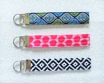 Wristlet key fob, wristlet keychain, key lanyard, Polka wrist key chain