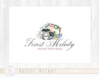 Raccoon Logo Floral Logo Design  Forest Logo Photography Logo Watercolor Logo Boutique Logo Shabby Chic Logo