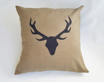 Antler Pillow Cover - Taupe w/ Stripe