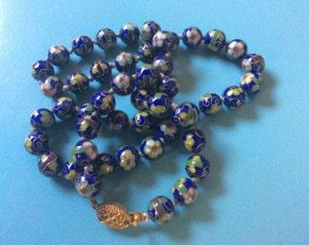 Antique Cloisonne Blue Flower Floral Beaded Necklace