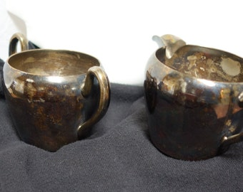 1950s ACADEMY Silver on Copper Cream Pitcher and Sugar Bowl
