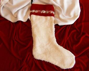 Red Velvet Christmas Stocking, Chenille Christmas Stocking, Upcycled Christmas Stocking, Vintage Christmas Stocking, Lined Stocking
