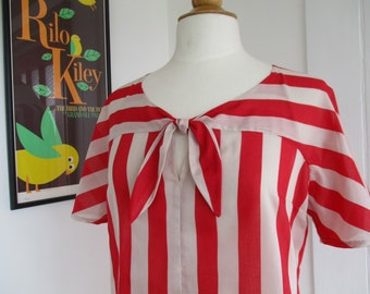 Esmeralda blouse vintage style floaty striped cotton 1940s shortsleeved summer top