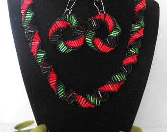 Perfect for Kwanzaa Red, Black and Green Necklace with Matching Earrings / Jewelry Set / Nickel Free Jewelry