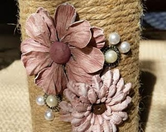 Twine wrapped floral vase