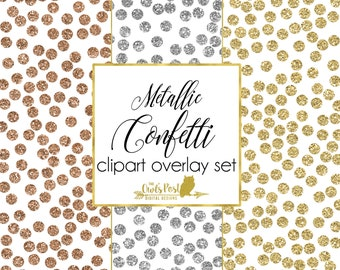 Photo Overlays - Metallic Glitter Confetti   Set of 3 PNG Overlays & 3 JPEG Papers   Photoshop Overlays with TRANSPARENT Background  