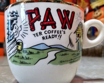 Paw Yer Coffees Ready Vintage Retro funky hillbilly 60s 70s coffee mug kitschy