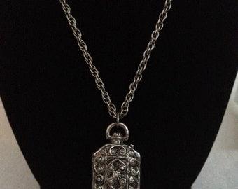 Beautiful Victorian Style Silver-Tone Locket Pendant Signed Goldette.
