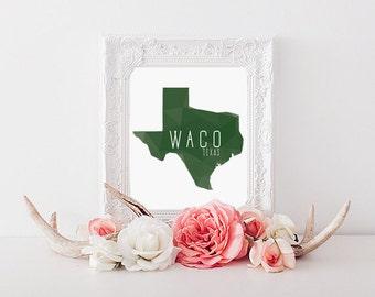 Waco, Texas Geometric State Print (8x10)