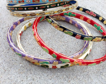 7 Colorful Cloisonne Bangles // Cloisonne Assortment // Vintage Cloisonne Bracelets