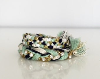"""Little Lady Woven Bracelet paired with Braided Rhinestone, """"Gladys Collection"""""""