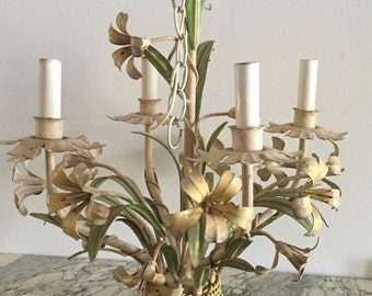 50's Lily Tole Chandelier - Lillies in Metal Chandelier - Shabby Chic