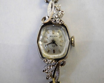 Vintage Bulova 14 KT White Gold Watch & Diamond Accents - Stretch Speidel Band