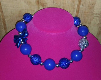 Royal blue love chunky necklace
