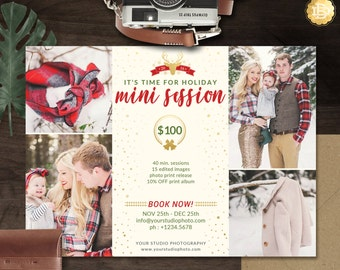 Holiday Mini Session Template, Christmas Mini Session Template, Mini Session Marketing Template for Photographer - INSTANT DOWNLOAD - MS017