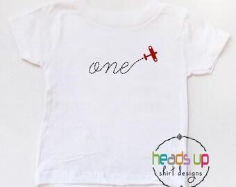 One Birthday Shirt Toddler Airplane Boy/Girl - First Birthday Baby Bodysuit 1 Airplane - Plane tshirt 1st Bday - Birthday Tee Trendy - Gift