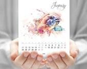 Fish, Calendar, Fish watercolor, Desk calendar, CD calendar, Monthly calendar, Fish calendar, Tropical fish, Printable calendar, DOWNLOAD
