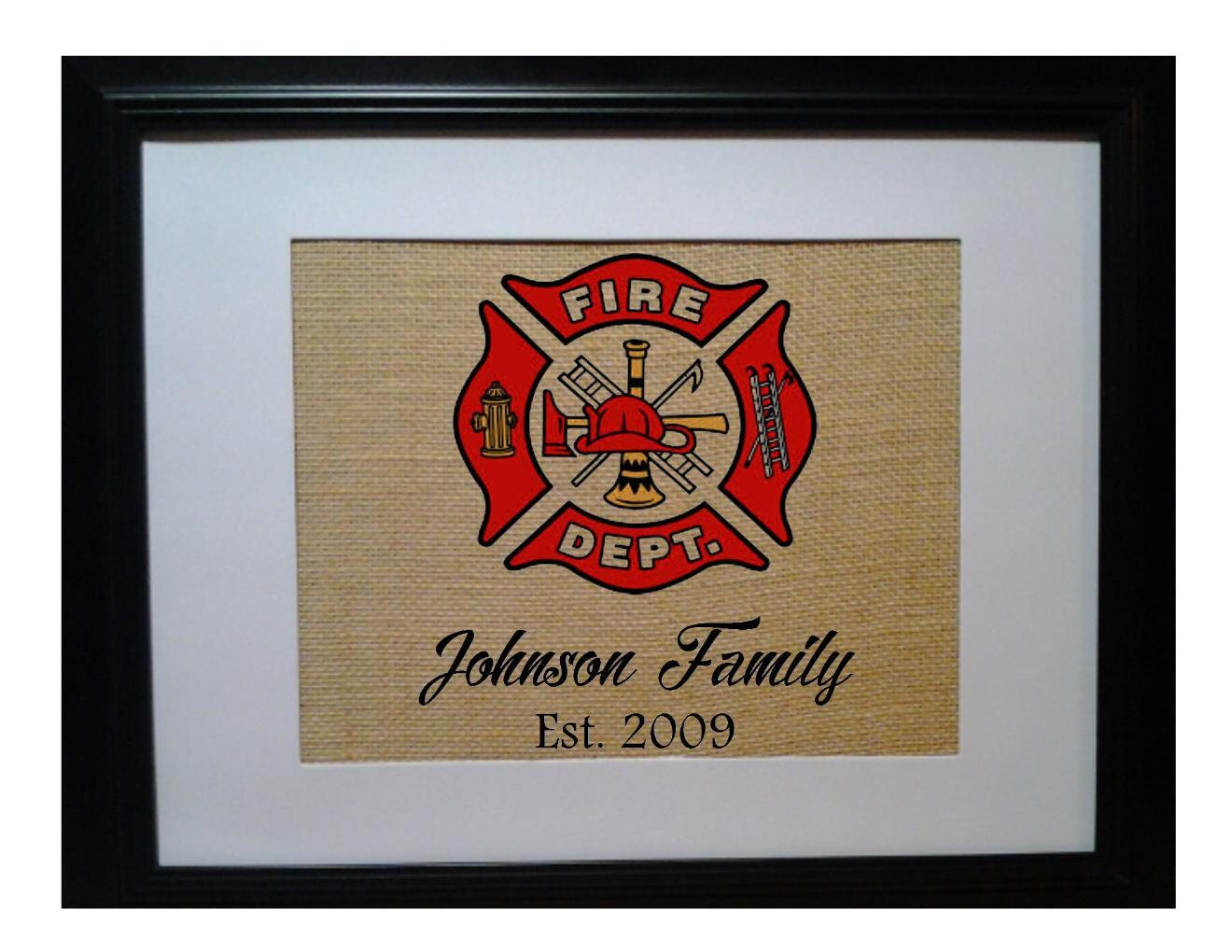 Fireman Family Name Burlap Print Personalized Firefighter