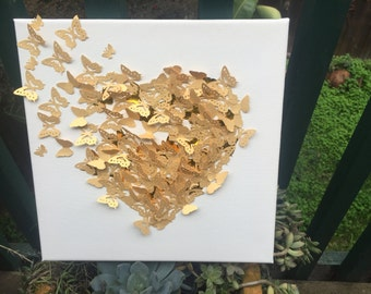 Gold 3D Butterfly Heart Picture