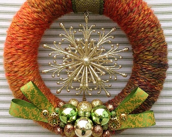Snowflake Wreath, Orange Snowflake Wreath, Winter Wreath, Yarn Wreath, Rustic Snowflake Wreath, Rustic Winter Wreath, Rustic Wreath,