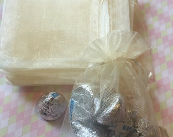 12pcs Organza Bags  Ivory  6*4 inch