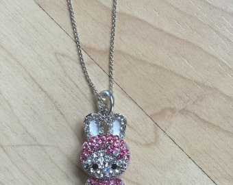 Cute Kitty Cat Necklace Silver Tone Crystals Pendant Ship From NY