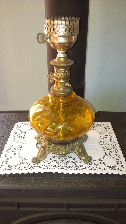 large vintage table lamp hand blown by otherworldtreasure. Black Bedroom Furniture Sets. Home Design Ideas