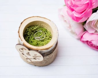 Wooden Ring Box Rustic Wedding Ring Box Ring Bearer Personalized Moss Ring Holder Ring Pillow Rustic Wedding Wooden Box