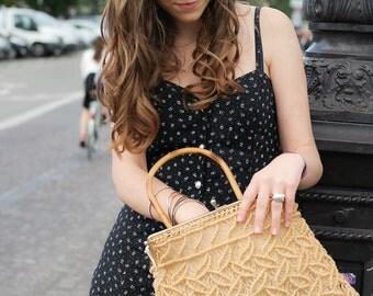 handbag vintage natural jute