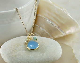 Blue Druzy Necklace Gold Pendant Czech Glass Vermeil Gold Chain Drop Necklace Bridesmaid Gift Jewelry  Wedding Necklace VanBeekJewelry