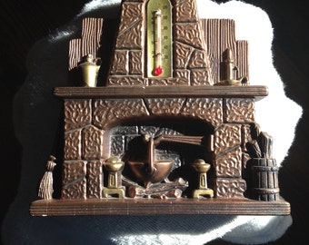 Vintage 1973 Chalk Ware fireplace wall plaque thermometer