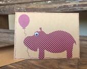Cute Hippo Birthday Card