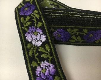 Vintage Embroidered Trim, Purple Flowers, Lilac Flowers, Lavender Flowers