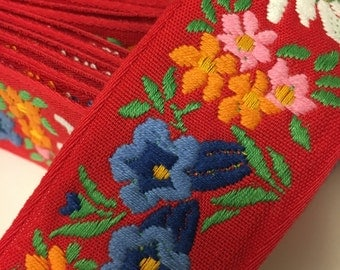 Vintage Jacquard Embroidered Trim, Floral Embroidered Trim by the Yard
