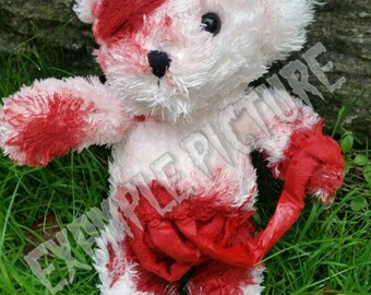 Custom gory bear, teddy, horror, funny, blood, personalised, gift, present, cute, halloween decoration, Christmas, cuddly toy, gory, scary