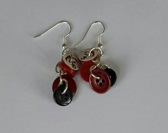 Red and black button drop earrings