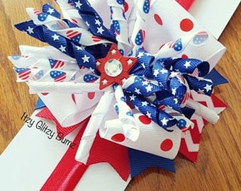 July 4th Hair Bow- Baby Hair Bow- Toddler Hair Bow- Corker Bow- 4th Of July Bow- Boutique Bows- Red White and Blue