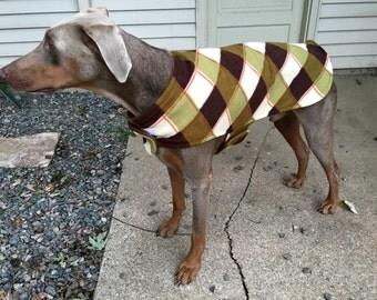 Fleece Big Dog Jacket - Brown Plaid