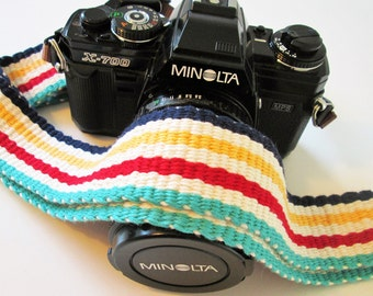 Handwoven Comfortable Cotton Camera Strap, Leather or Vegan Camera Ends, Quick Release Option Available